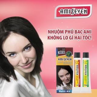 Nhuộm phủ bạc dược thảo Ami Seven Speedy Permanent Hair Color (60g 60g) nhanh 7 phút - Hàn Quốc - loại tiết kiệm- Màu S5- Hạt dẻ đậm thumbnail