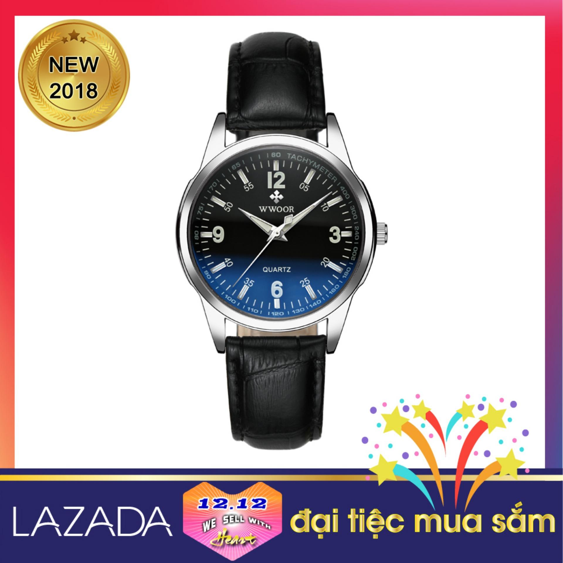 Đồng hồ dây da, kính đổi màu WWOOR 8861, tặng thêm Pin đồng hồ đeo tay SONY 626 Japan bán chạy