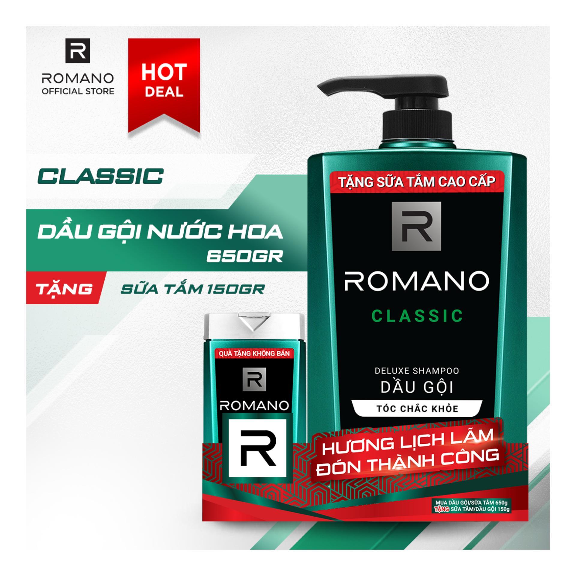 Dầu gội Romano Classic cổ điển lịch lãm tóc chắc khỏe 650gr- Tặng sữa tắm Romano Classic150g