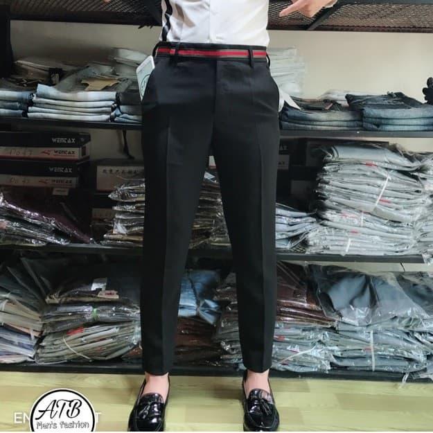 Quần âu Nam đẹp , Quần Tây Nam Cao Cấp Màu đen Hàn Quốc Dáng ôm Body( Viên Lưng Quần Y Hình) Khuyến Mãi Sốc