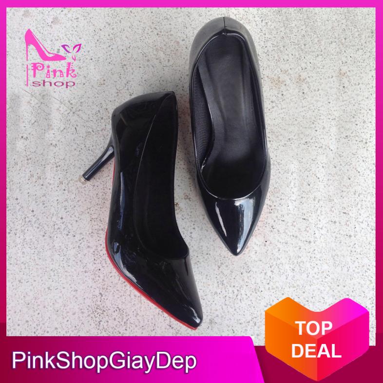 (Có mã miễn ship) Giày nữ, giày cao gót nữ 5 phân màu đen và kem sang trọng, quý phái PinkShopGiayDep giá rẻ