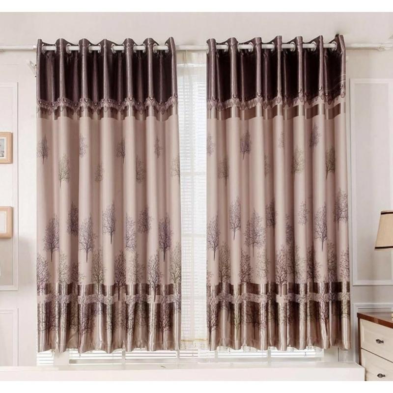 Rèm cửa sổ, cửa phòng ngủ chống nắng giá rẻ, hoạ tiết cây khô TNS-007