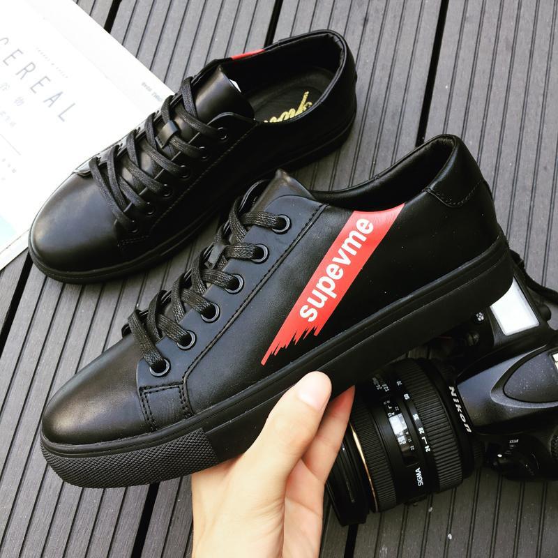Model baru musim semi chic BLACK WHITE Sepatu pria gaya Jepang retro Trendi  Harajuku Model bf kepribadian e3d8c31b7c