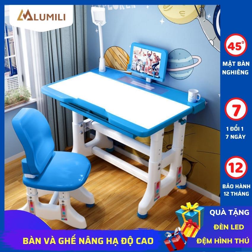 [Tặng đèn led + đệm ghế] Bàn học sinh, bàn học cho bé Lumili T500 bàn học thông minh chống gù chống cận cho trẻ em từ 3 đến 15 tuổi phù hợp với học sinh tiểu học nâng hạ độ cao nghiêng mặt bàn