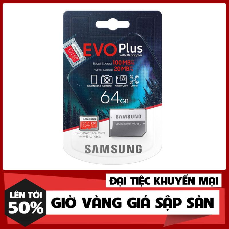 [Shop Mới Xả Kho] Thẻ nhớ MicroSDXC Samsung Evo Plus 64GB U3 4K R100MB/s W60MB/s - Box Anh New Kèm Adapter New 2021