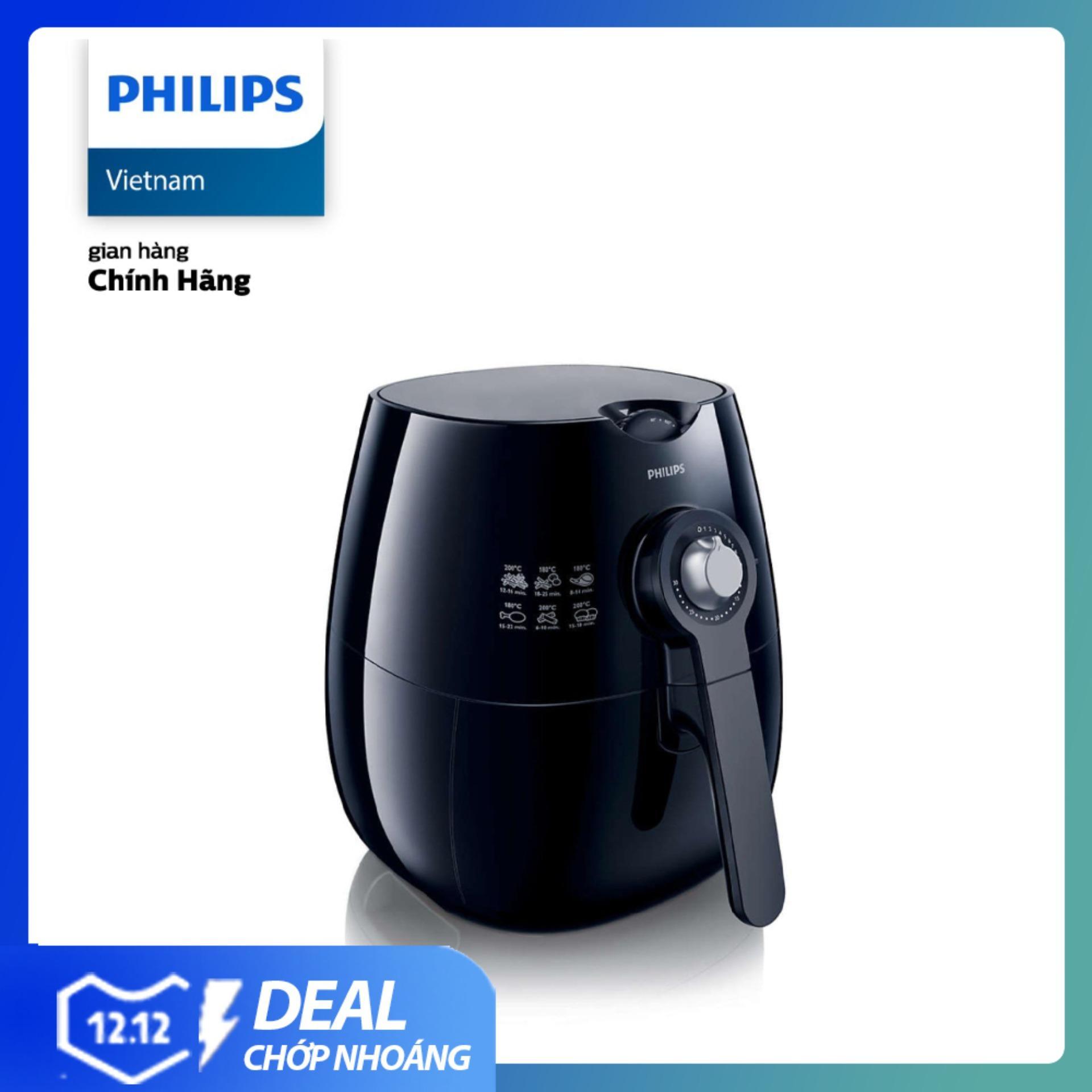 Nồi chiên không dầu Philips HD9220/20 1425W 2.2L (Đen) - Hàng phân phối chính hãng, ít béo đến hơn 80%, lòng nồi chống dính