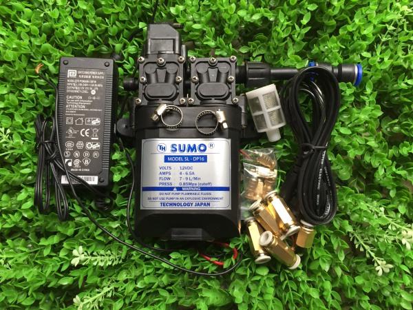 Bộ phun sương làm mát Sử dụng bơm đôi SUMO 12V Lưu lượng 9L/phút 10 đầu béc phun 15m dây PE 8mm 1m dây hút lọc rác chưa kèm bộ chuyển nguồn