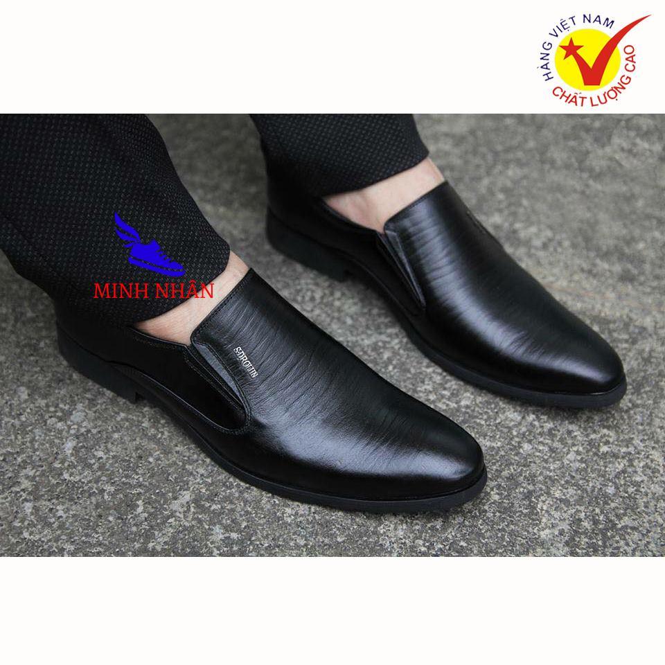 Minh Nhân - Giày lười nam DA BÒ Giày công sở nam đẹp Giày tây nam Giày Kinh doanh Doanh nhân Giày da bò cao cấp thời trang hàng hiệu giá rẻ mẫu mới L-28 màu đen