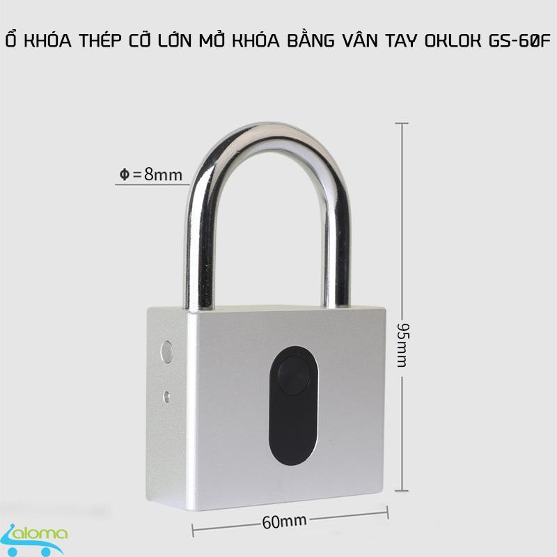 Ổ khóa vân tay cỡ lớn cao cấp OKLOK GS60F bằng thép không gỉ chống nước chống phá khóa cảm biến 1 chạm