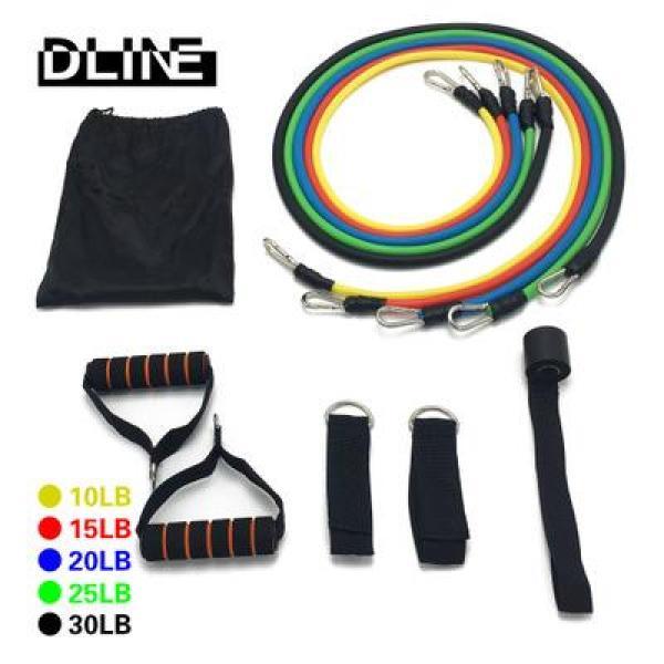 Bộ 5 dây đàn hồi-Gồm 11 chi tiết như hình đại diện- tập thể hình cao cấp - dụng cụ tập gym - thể thao