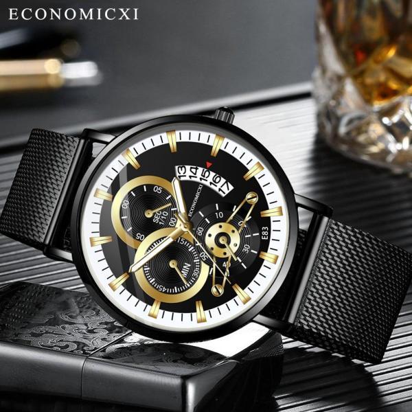 Đồng hồ nam ECONOMICXI dây thép mành có lịch ngày cao cấp - Mẫu MỚI VỀ Hot Trend 2020 GAD09 bảo hành 12tháng (full hộp) bán chạy