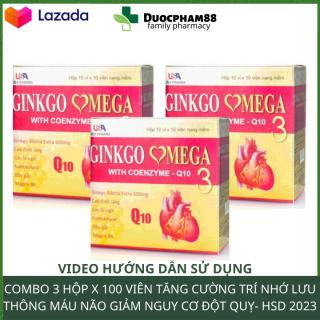 Combo 3 hộp Hoạt huyết dưỡng não ginkgo omega 3 Coenzym Q10 mỗi hộp 100 viên -thực phẩm bổ não- hoat huyet duong nao- hoat huyet bo nao- hoat huyet duong nao traphaco- hoạt huyết dưỡng não ginkgo biloba - viên uống bổ não ginkgo biloba 200 thumbnail