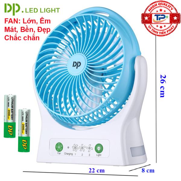 Quạt sạc tích điện DP DP-7605 / DP-1425C tích hợp đèn LED chiếu sáng - loại quạt lớn gió rất mạnh (xanh)