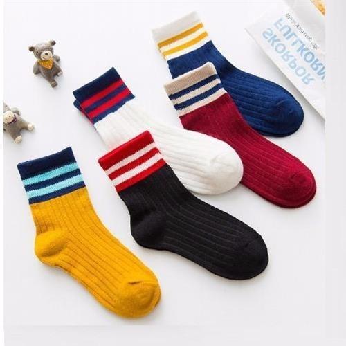 Set 03 đôi tất len kẻ cổ sọc Hàn Quốc cho bé nam nữ từ 03 - 10 tuổi