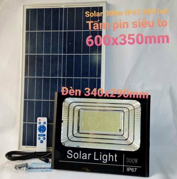 Đèn led pha năng lượng mặt trời 300w IP67 có remote tấm pin 600x350mm, dây nối dài 5m - Bảo hành 12 tháng