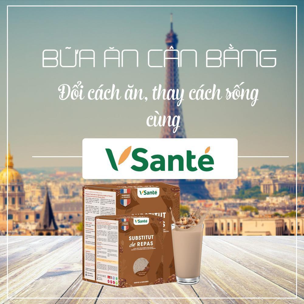 Combo 2 hộp Thực phẩm giảm cân [ Vị Đào ] - Thương hiệu Vsanté, Pháp + Tặng kèm bình lắc