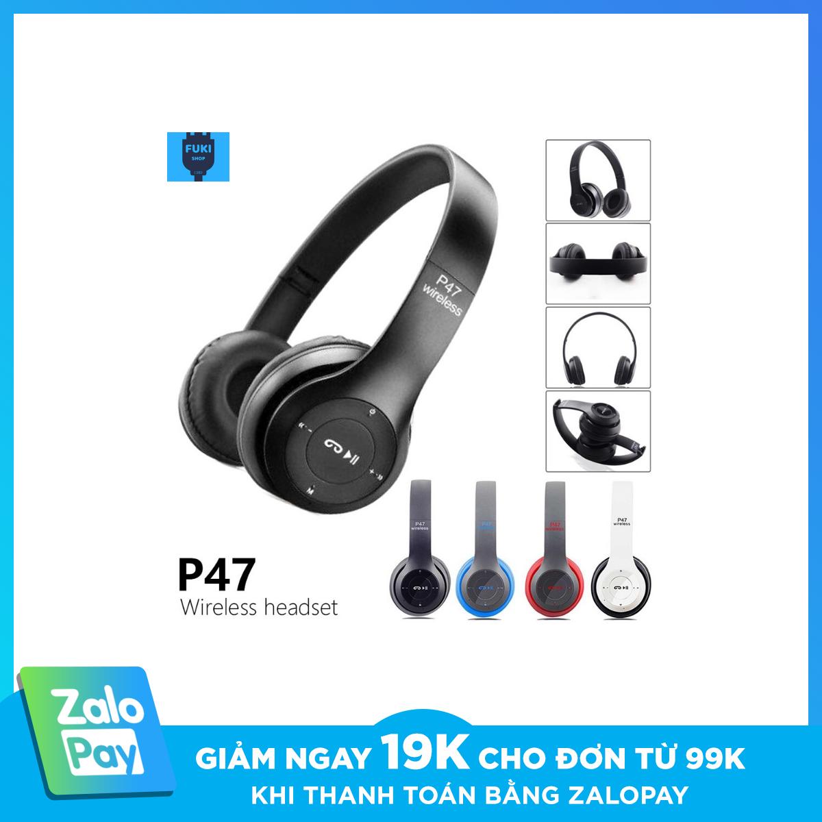 [ Siêu Sale 04.04 ] Tai nghe chụp tai bluetooth p47 cao cấp có khe thẻ nhớ Bluetooth SIÊU BASS