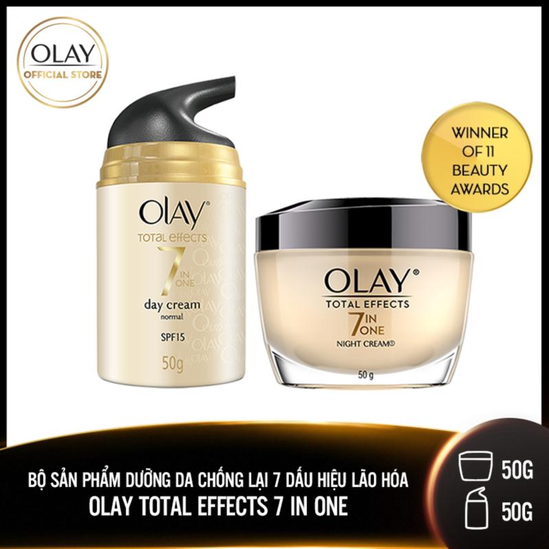 Bộ 2 sản phẩm Olay Total Effect Chống lại 7 Dấu Hiệu Lão Hóa:  1 Kem dưỡng ngày 50g  +  1 Kem dưỡng đêm 50g giá rẻ