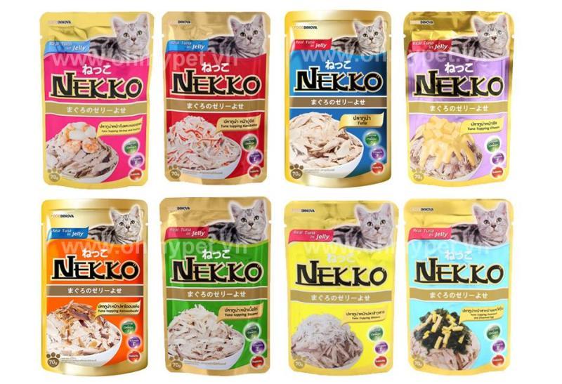HCM- Nekko tuna gói 70gr- Bate mèo nhập khẩu Thái Lan /  thức ăn sốt cho mèo từ 1 tháng tuổi /Pate bổ sung dưỡng chất cho mèo 16 vị /Soup Nekko