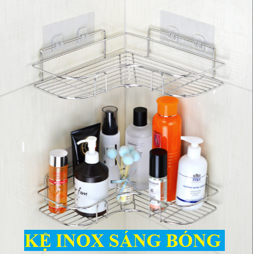 01 Kệ nhà tắm Inox - Kệ INOX đựng đồ nhà tắm, nhà bếp tiện lợi - Dễ lắp đặt - Gồm 02 miếng keo dán