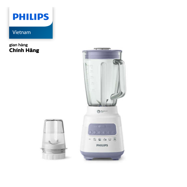 Máy xay sinh tố Philips HR2222/00 (Trắng) - Hàng phân phối chính hãng - Cối xay thủy tinh