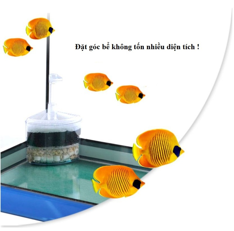 Lọc bio vi sinh 4 lớp kiêm sủi oxi cho bể cá (tặng ống sủi)