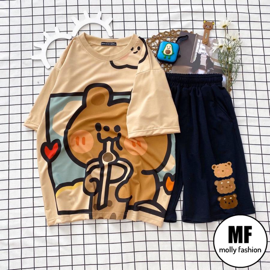 [HCM]Đồ bộ nữ hoạt hình Gấu trà sữa kiểu set đi chơi - mặc nhà form rộng Unisex Freesize nam nữ mặc được Molly Fashion
