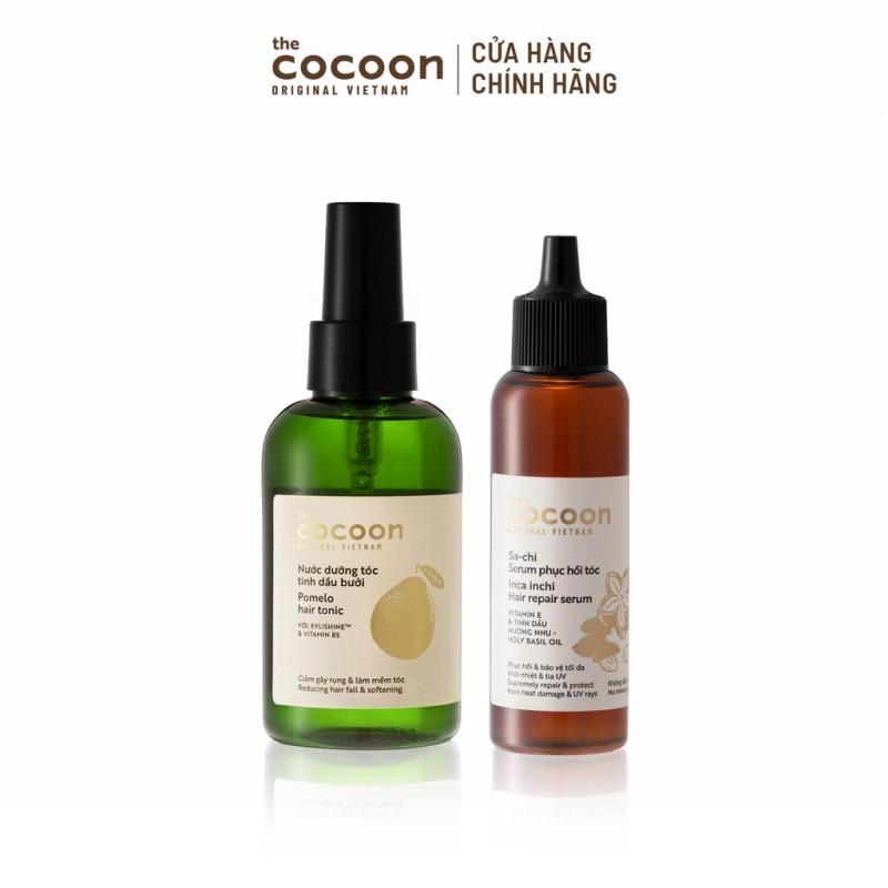 Combo Nước dưỡng tóc tinh dầu bưởi Cocoon 140ml + Sa-chi Serum phục hồi tóc Cocoon 70ml nhập khẩu