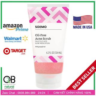Tẩy tế bào Solimo Oil free Acne Scrub,Facial kiềm mụn, tinh chất bưởi hồng, 2% Salicylic Acid, chứng nhận USA,124ml thumbnail