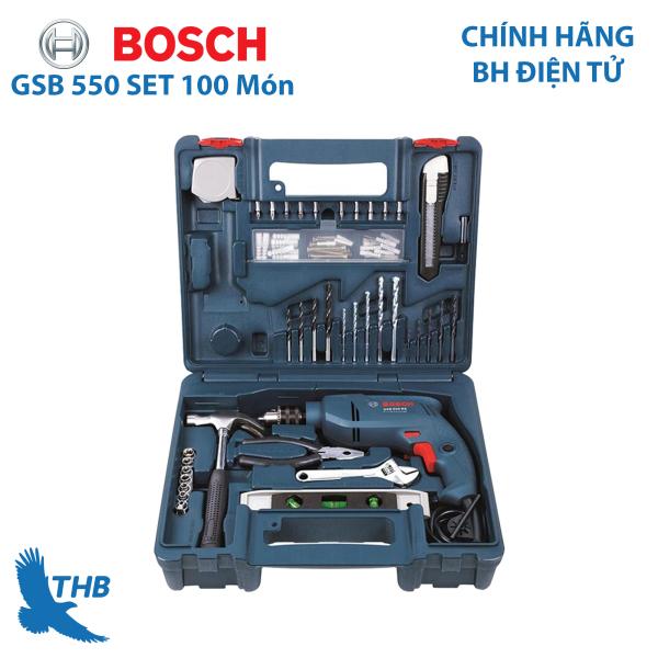 Bộ máy khoan động lực cầm tay Bosch GSB 550 và bộ dụng cụ 100 chi tiết sử dụng đa năng (gia đình, thợ chuyên nghiệp)