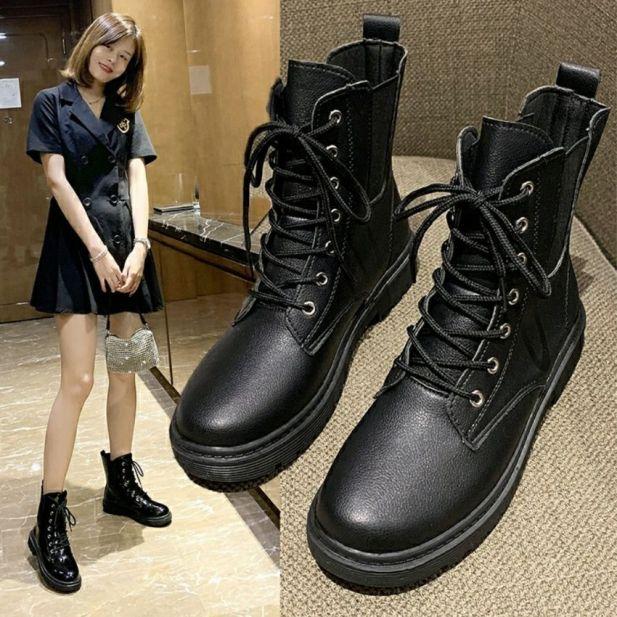 bốt da nữ cao cổ bốt giày thời trang hot trend 2020 phong cách Hàn Quốc chất da mềm  đi êm chân dễ lau chùi dễ bảo quản TẶNG tất khử mùi trị giá 15k giá rẻ