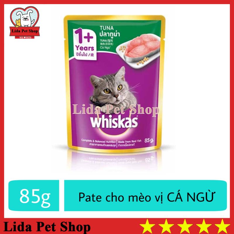 [Lấy mã giảm thêm 30%]HN- Thức ăn ướt pate / xốt Whiskas hương vị Cá Ngừ dành cho mèo lớn - Gói 85g - Lida Pet Shop
