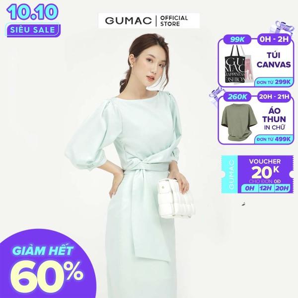 Nơi bán Đầm tay lỡ xếp eo GUMAC mẫu mới DB593