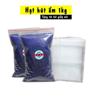 Hạt hút ẩm xanh - Túi 1kg tặng kèm 10 túi vải đựng hạt