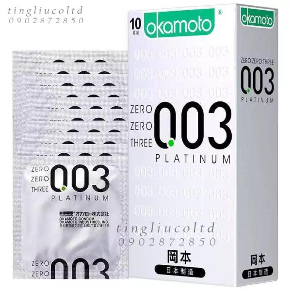 Bao cao su OKAMOTO 003 Platinum HỘP 10 CÁI cao cấp