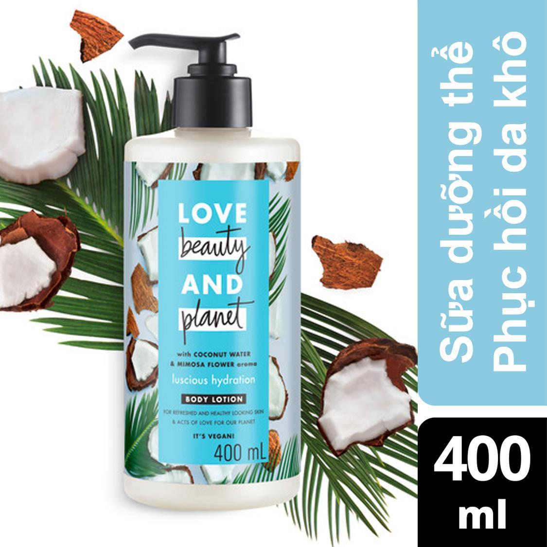 Sữa dưỡng thể cấp ẩm phục hồi da thiếu ẩm Love Beauty And Planet Luscious Hydration 400ml (xanh dương)