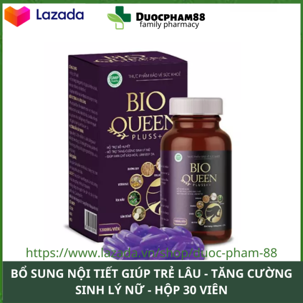 Bio Queen Pluss++ tăng cường sinh lý nữ trr hóa làn da ổn định nội tiết tăng cường sinh lý cho nữ hộp 30 viên HSD 2023