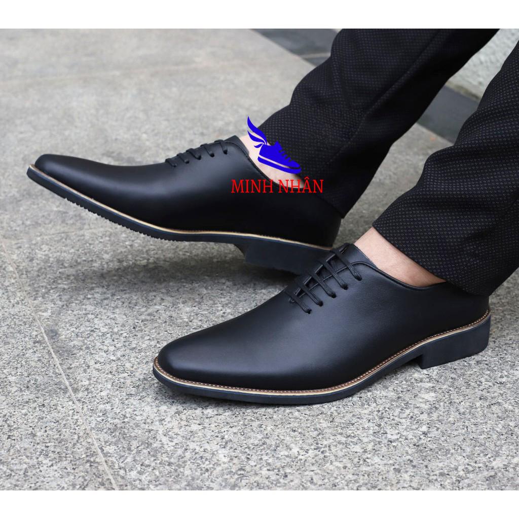 Giày tây nam da bò thật mũi bo tròn. Bảo hành 12 tháng Giày Cổ điển Giày Da Công Sở Doanh Nhân Đơn Giản Giày xỏ nam Giày Tây Giày Công Sở hàng hiệu cao cấp giá rẻ sang trọng B-3 màu đen