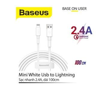 Cáp sạc nhanh 2.4A Baseus Mini White chân Lightning dây TPE siêu bền hỗ trợ truyền dữ liệu dài 1M cho iPhone iPad thumbnail