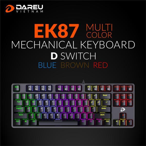 Bảng giá Bàn phím cơ Gaming DAREU EK87 - Black (MULTI-LED, Blue/ Brown/ Red D switch) Phong Vũ