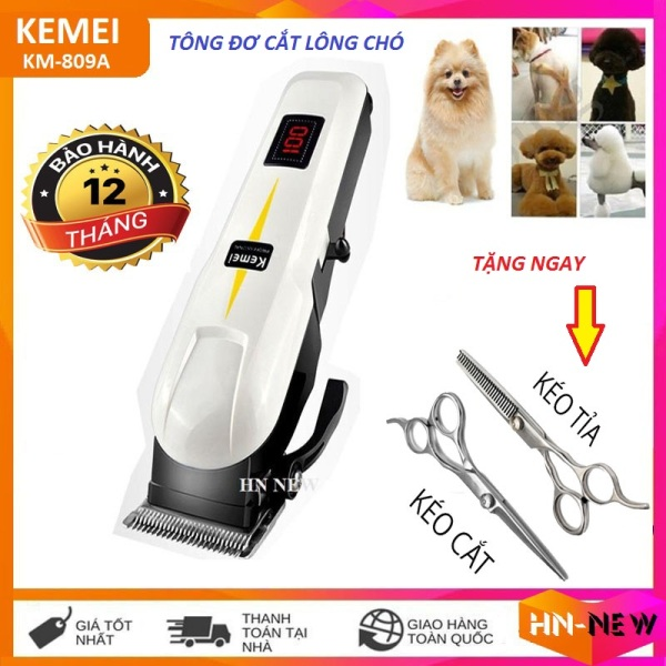 [SƯU TẬP VOUCHER 15K] Tăng đơ, tông đơ cắt lông chó kemei 809A, tông đơ cắt tóc thú cưng chuyên nghiệp không dây cao cấp,đèn led hiển thị dung lượng pin + Tặng 2 kéo cắt tỉa chuyên dụng