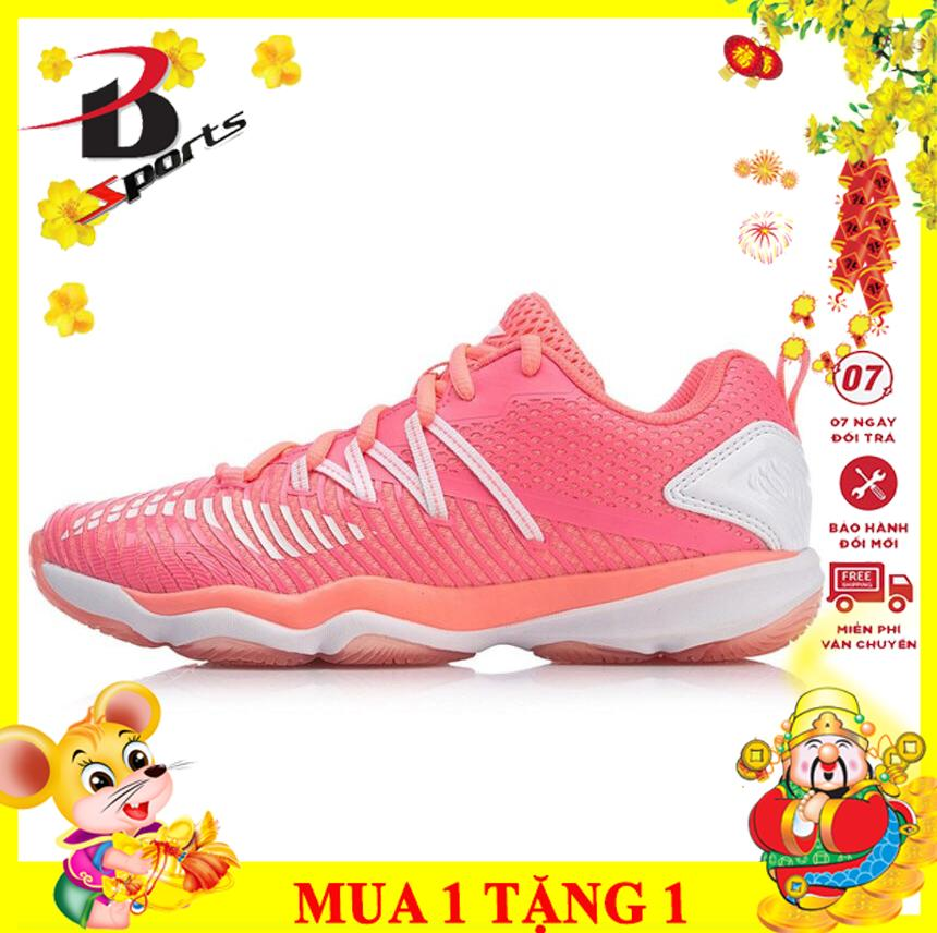 Bảng giá Giày đánh cầu lông Lining nữ màu hồng AYTP012-3 chuyên nghiệp, giảm chấn, ôm chân và bảo vệ chân tốt - Bền bỉ, bảo hành tới 24 tháng - giay cau long - giay the thao nữ - giay danh bong chuyen - Bsport