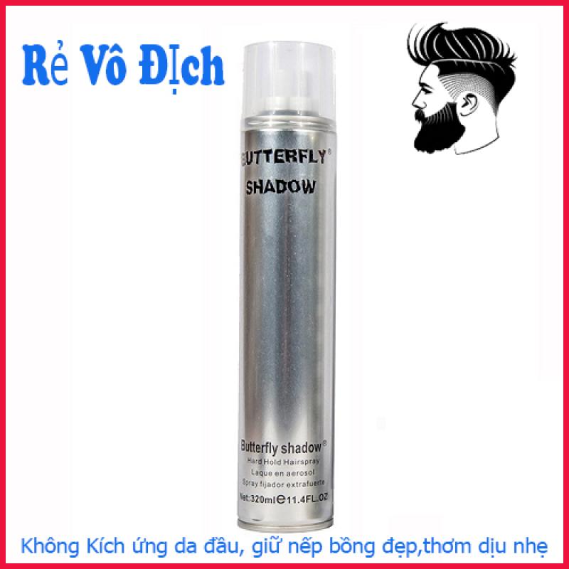 Gôm xịt tóc butterfly shadow 320ml l2 siêu cứng siêu giữ nếp giúp tóc bồng đẹp nguyên ngày