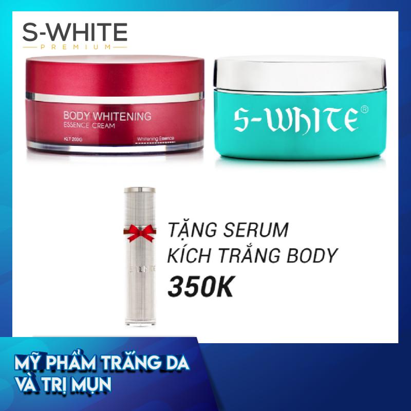 Combo da trắng mịn gồm Kem Body Cốt S-White + Kem Body Táo S-White tặng ngay Serum Kích Trắng Body S-White