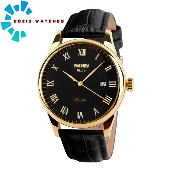 Đồng hồ nam chính hãng dây da cao cấp chống nước SKMEI 9058 -Gozid.watches bán chạy
