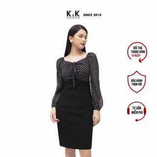 Đầm Công Sở Nữ Dáng Chữ A Phối Chấm Bi Tay Dài Màu Đen K&K Fashion KK106-19 thumbnail