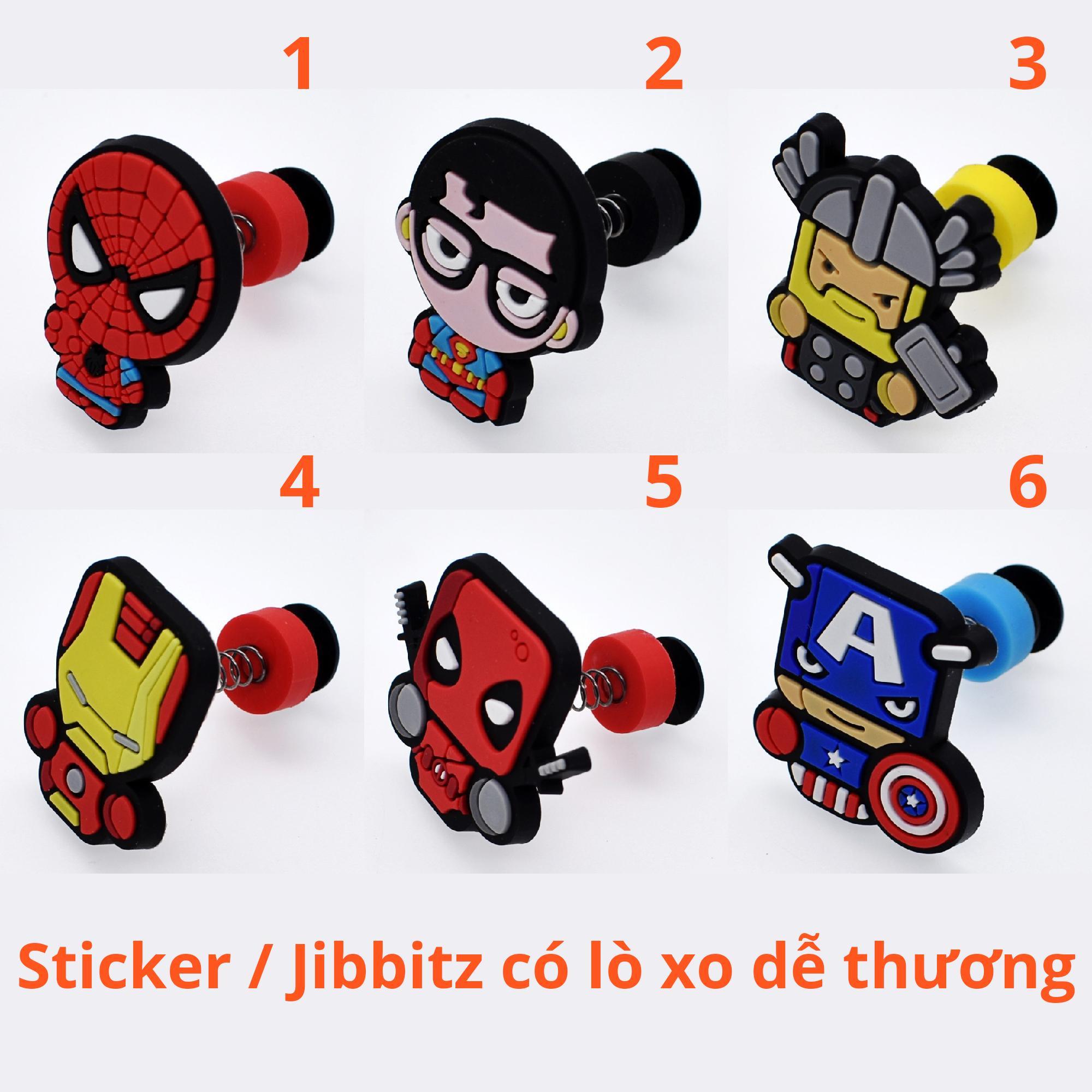 [CÓ VIDEO CLIP THẬT] Sticker / Jibbitz Lò xo Marvel, Siêu anh hùng Gắn Dép Crocs, Cross, Satihu, Dép Sục Nhật Bản