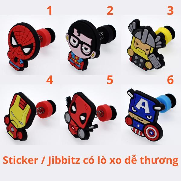 [CÓ VIDEO CLIP THẬT] Sticker / Jibbitz Lò xo Marvel, Siêu anh hùng Gắn Dép Crocs, Cross, Satihu, Dép Sục