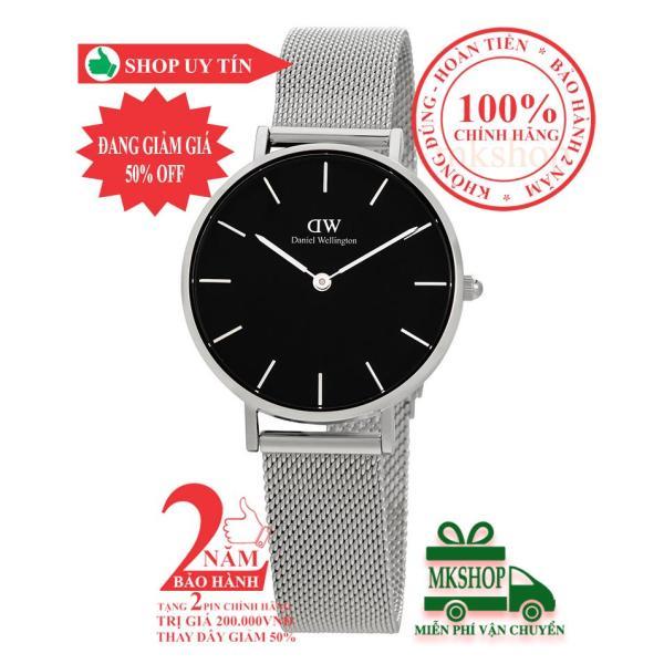 Đồng hồ nữ DanieI Wellington Classic Petite Sterling -size 32mm - Màu trắng bạc (Silver), mặt đen (Black) DW00100162