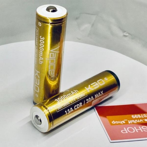 [P61] Pin 18650 Vapcell K30 – 15A 3000mAh xả cao có mạch bảo vệ
